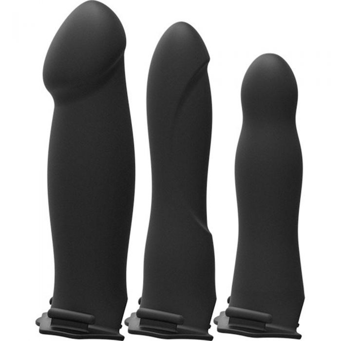 Body Extensions - Hollow Strap-on 4-Piece Set With Clitoral Vibrator - Black