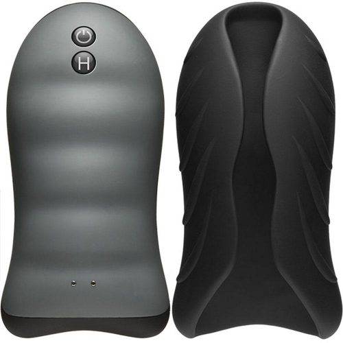 Optimale - Silicone Auto-Heating Stroker - Rechargebale - Vibrating - Black/slate