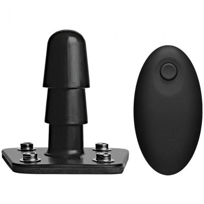 Vac-U-Lock - Supreme Harness With Vibrating Plug  - Black